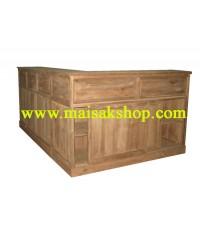 เฟอร์นิเจอร์ไม้สัก(Furniture) เคาว์เตอร์บาร์หล้าไม้สัก แบบตัว L