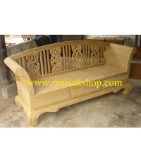 เฟอร์นิเจอร์ไม้สัก(Furniture)  เก้าอี้โซฟาไม้สัก3 ที่นั่งแบบลายฉลุ
