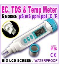 เครื่องวัด EC, TDS, อุณหภูมิ 3in1 ใช้ปลูกผักไฮโดรโปนิกส์ ฟรี!น้ำยาสอบเทียบ 1413uS, 5.00mS ราคา 400.-