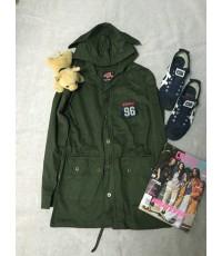 เสื้อคลุม เสื้อแจ็คสีเขียวทหาร  เท่ๆ พร้อมส่ง