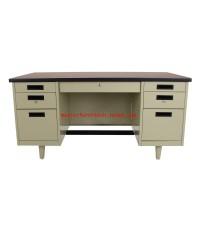 โต๊ะทำงานเหล็ก4.5ฟุตหน้าไม้ DLN-2654