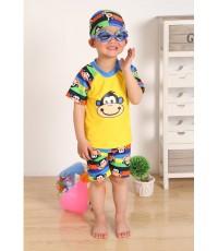 ชุดว่ายน้ำเด็กชายรูปลิง เสื้อแขนสั้น เกงเกงขาสั้น พร้อมหมวก รวม3ชิ้น (พรีออเดอร์15 วัน)