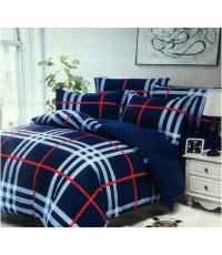 ชุดผ้าปูที่นอนพร้อมผ้าห่มนวม น้ำเงินลาย