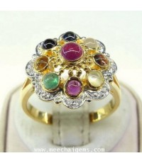แหวนพลอยนพเก้าแท้ดีไซน์ทับทิมอยู่สูงสุด