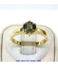 แหวนพลอยเขียวส่องจันท์แท้เม็ดเดี่ยว