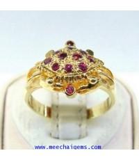 แหวนพลอยทับทิมจันท์แท้ดีไซน์ตัวปู