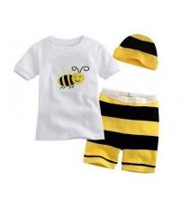 ชุดนอน Baby Gap แขนสั้นขาสั้น ลายผึ้งน้อย พร้อมหมวกน่ารัก ชุดเด็ก Baby Gap เซ็ต 3 ชิ้น