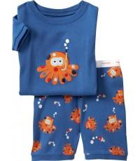 ชุดนอน Baby Gap แขนสั้นขาสั้น ลายปลาหมึกสีน้ำเงิน ชุดเด็ก Baby Gap