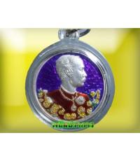 เหรียญ รัชกาลที่ 5 วัดแหลมแค ชลบุรี เนื้อเงินลงยา หลังนารายณ์ทรงครุฑ  ปี2536  พิธีใหญ่น่าบูชา