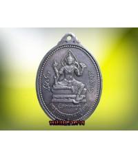 เหรียญรุ่นแรก  เนื้อเงิน ท้าวเวสสุวรรณ หลวงพ่ออิฐ วัดจุฬามณี ปี32 หายากน่าบูชา