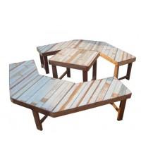 ชุดโต๊ะและเก้าอี้ไม้รูปแปดเหลื่ยม