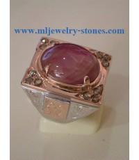 แหวนทับทิมกิมบ่เซี่ยงประดับเพชรแท้สีน้ำตาลเจียลูกโลก ทับทิมสวยมาก