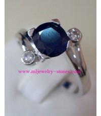 แหวนทองคำขาวไพลินเพชรแท้ 0.10 ตังค์