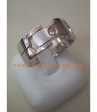แหวนทองคำขาวฝังเพชร 0.12 กะรัต