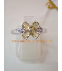 แหวนเงินเคลือบทองคำขาว ประดับพลอยแท้ ซิทรีน แบบแหวนทันสมัย