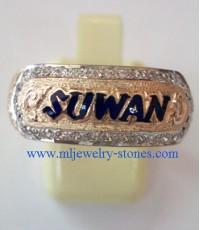 แหวนนามสกุล suwan ตัวเรือนเป็นนาก