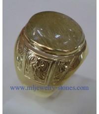 แหวนรูไทร์ควอซต์ (ไหมทอง) ตัวเรือนทองคำแท้