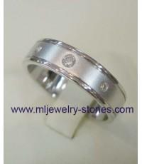 แหวนทองคำขาว 18 k ประดับเพชรแท้เบลเยี่ยม