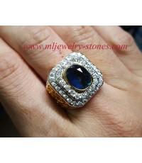 แหวนไพลินกาญจนบุรีล้อมเพชร66เม็ด1.60cts