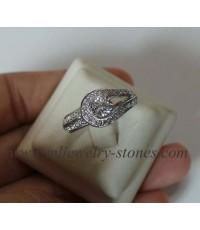 แหวนเพชรแท้เบลเยี่ยมน้ำหนักรวม 0.79 cts.