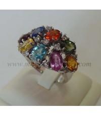 แหวนพลอยหลากสีประดับเพชรแท้ 0.55 cts.(งานสั่งทำ)