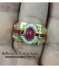 แหวนทับทิมล้อมเพชรแท้ เพชร28เม็ด ตัวเรือนทอง หนักรวม9.7กรัม