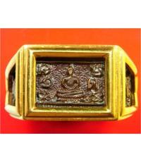 แหวนพระพุทธ ปี22 โลหะผสม (เลี่ยมทองแท้) หลวงปู่ดู่ วัดสะแก