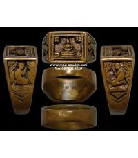 แหวนพระพุทธสี่เหลี่ยม เนื้อโลหะผสม ปี24 หลวงปู่ดู่ วัดสะแก