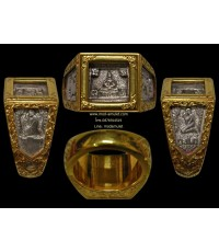 แหวนพระพุทธสี่เหลี่ยม เนื้อเงินเลี่ยมทอง ปี2527 (หน้าใหญ่จอลึกนิยม) หลวงปู่ดู่ วัดสะแก