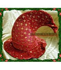 หมวกแม่มดสีแดงผ้ากำมะหยี่