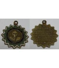 เหรียญพระครูสายธรรมคุณ อ.สัตหีบ จ.ชลบุรี ปี 2500 เนื้ออาบาก้า ลงยาสีเขียวขาว ที่ระลึกฉลองสมณศักดิ์ พ