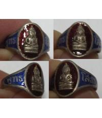 แหวนพระหลวงพ่อโสธร เนื้อเงินลงยาสีแดงน้ำเงิน
