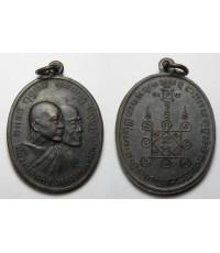 พระเครื่อง เหรียญหลวงพ่อแดง - หลวงพ่อเจริญ  วัดเขาบันไดอิฐ เนื้อทองแดงรมดำ