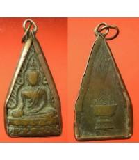พระเครื่อง เหรียญพระพุทธชินราช จ.พิษณุโลก หลังพาน และอกเลา เนื้อทองเหลือง เลี่ยมนาก