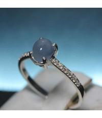 (จองแล้วครับ) แหวนแก้วฟ้าแก้วสวยไม่มีตำหนิขนาดแก้ว 7*5 เรือนเงินแท้