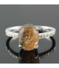 แหวนแก้วปวกทองเรือนเงินแท้ขนาดเม็ด 8x10 มิลวงแหวน 55