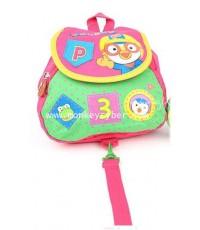 กระเป๋าเป้สีชมพูสด Pororo Hello!