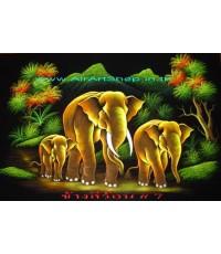 ช้าง สีร้อน    ภาพสีสะท้อนแสง บนผ้ากำมะหยี่