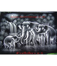 ช้าง  สีเดียว ภาพสีสะท้อนแสง บนผ้ากำมะหยี่