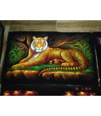 เสือ   ภาพสีสะท้อนแสง บนผ้ากำมะหยี่