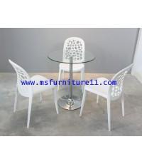 โต๊ะบาร์กระจก Honey + เก้าอี้ CW 01