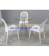 โต๊ะบาร์กระจก Daily กลม + เก้าอี้ CW 01