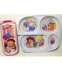 Disney : Dora the Explorer Dinnerware Tray with spoon and folk set