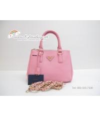 กระเป๋าแบรนด์ prada saffiano lux tote mini  สีชมพู