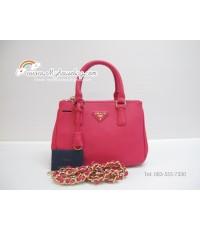 กระเป๋าแบรนด์ prada saffiano lux tote mini สีชมพูเข้ม