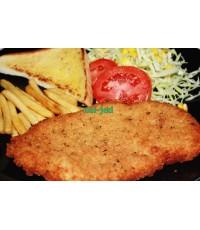 สเต็กไก่ชุบเกล็ดขนมปัง