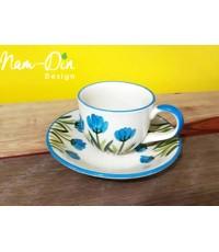 แก้วกาแฟ พร้อมจานรอง ลายดอกคุณนายตื่นสาย สีฟ้า