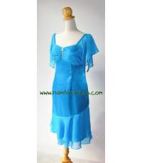 ชุดราตรี ชุดราตรีสั้น ผ้าเครปซาตินสีฟ้า