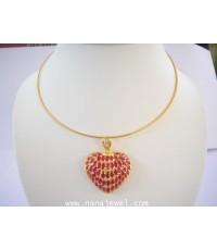 โชคเกอร์ทองพร้อมจี้รูปหัวใจพลอยทับทิม