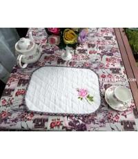 ผ้ารองจานอาหารลายปักรูปดอกกุหลาบ